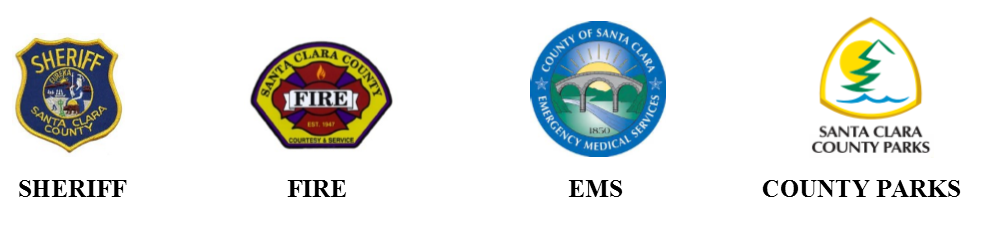 Logos for Santa Clara County Sheriff's, Fire, EMS, and Parks Departments